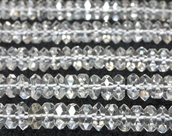 180 pcs of A A A Grade-- Natural White Rock Crystal faceted rondelle beads in 2x5mm (07085#)