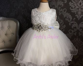 Baptism Dress for Baby girl lace christening dress flower girl dress with crystal rhinestone belt