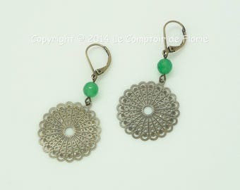 DESTASH earrings with prints and green agate