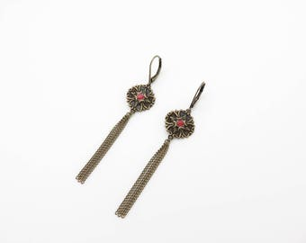 Earrings with round charms and Red enamel