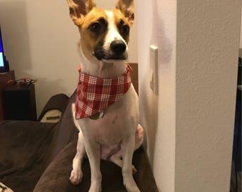 Red/white plaid palaka pet bandana, dog bandana, cat bandana, collar bandana, no tie bandana, pet neckwear, snap bandana