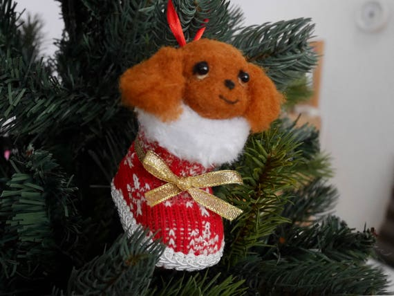 Christmas ornament, Needle Felted, Cavalier King Charles Spaniel, Ruby, Ready to ship,03[HiMeg/etsy]