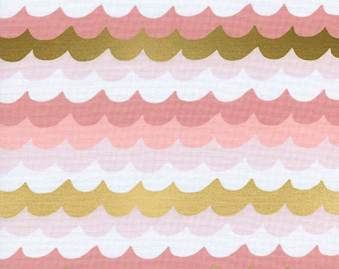 PRESALE: Waves - Coral METALLIC by Rifle Paper Co. for Cotton + Steel
