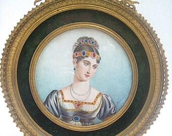 Antique MINIATURE Framed PAINTING PORTRAIT of Napoleon Bonaparte's Sister, Pauline