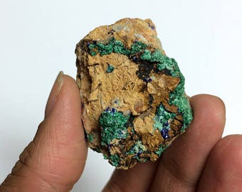 Malachite Azurite on Matrix Blue Green Fibrous Crystal Cluster Morocco Miniature Rocks and Minerals Mineral Specimen
