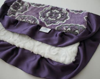 Mar Bella Minky Barcelona in Violeta Purple, Gray and White - Marbella, Baby Blanket, Medallion, Grape, Plum, Aruba Marquise, Embossed Vine