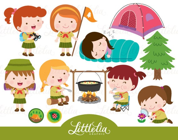 Girl Scout Camping Clipart Girls scout camping ca...