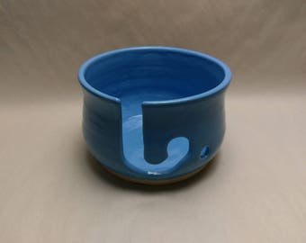 YARN BOWL - Sky Blue Reverse J Cut - Hand Made Ceramic #812