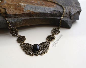 Season 3 Sansa Stark Necklace Game of Thrones Jewellery Butterfly Black Onyx Stone Necklace