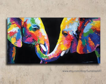 40 x 80 cm, Colorful Rainbow elephant painting, wall decor paintings on canvas