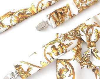 suspender with bow tie and handkerchief,white-gold,floral