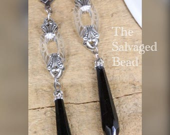 Antique Art Deco Gatsby Clear and Black Drop Earrings, circa 1920's by The Salvaged Bead