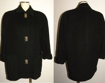 1980s 80s ANNE KLEIN II Coat / Wool Jacket / Classic / Chic / structured / Black /  Vintage / fits like M - L