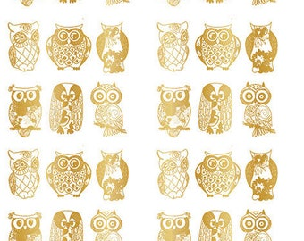Golden Owls ~ 369875 ~ Choose Real Yellow Gold or Platinum White Gold - Choose Ceramic or Glass Decal  - Low Fire