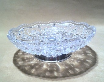 Vintage Silver Footed Crystal Hors d'oeuvres Plate Crystal Mini Pedestal Cake Stand Mini Cut Pressed Glass Cake Plate w/ Silver Footed Base