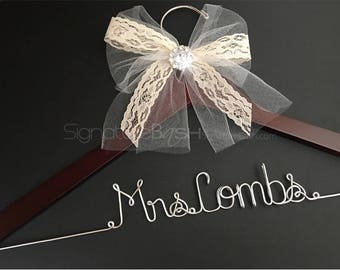 Custom Hanger Tulle and Lace Bow with Rhinestone Button / Wedding Hangers  / Custom Bridal Hangers / Personalized Hangers