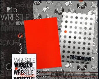 Wrestle  - Takedown 2 Page Scrapbooking Layout Kit