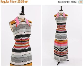 ON SALE Vintage original 1970s 70s Miss Parisienne vibrant stripe maxi dress UK 10 12 Us 6 8 S M