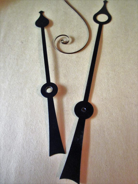 1 Pair of Large Vintage Black Spade Design Clock Hands for your Clock Projects, Steampunk Art, Metalworking, Crafts & Etc.