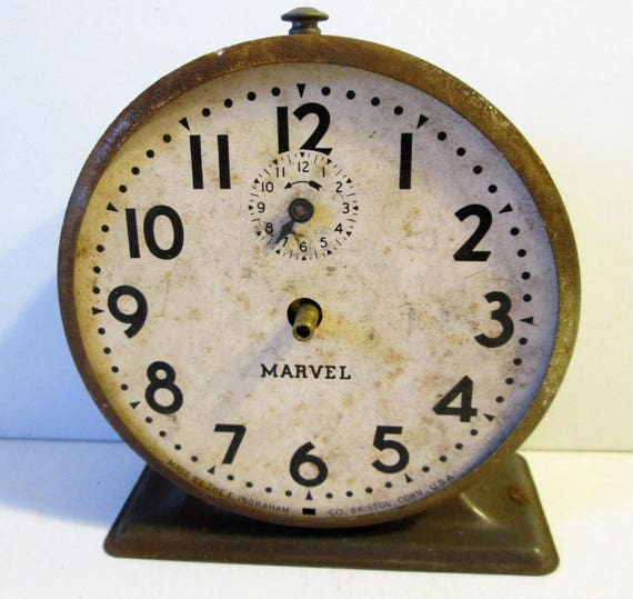 Old and Worn Partial Ingraham - Marvel Alarm Clock for Repair, Parts, Steampunk Art and etc...