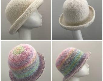 Felted Derby Hat Pattern - Two Styles and Flower