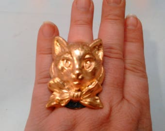 Handmade Metal Victorian Cat style Adjustable Ring