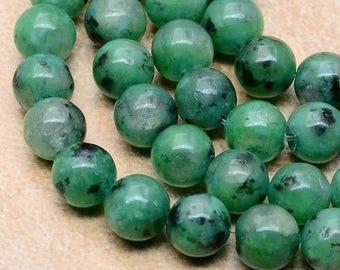 8mm/ NATURAL/ Green/ Kiwi /Jasper/ Gemstone /8mm Beads /  FULL STRAND