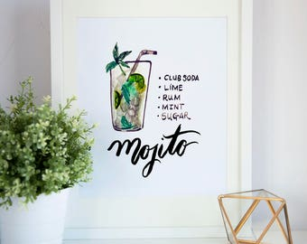 "Bar Cart Print, Mojito, 8"" x 10"" Print"