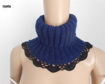 col roulé femme/COL SNOOD, echarpe gris au trico /knit accessories/snood tricot femme/accessoires tricotés/ Tour du cou crocheté/snood laine