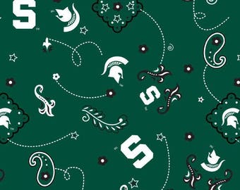 Michigan State Spartans NCAA Cotton Fabric 1/2 Yard Cut New