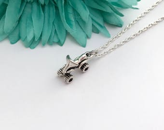 Four wheeler quad necklace -  quad with chain necklace - fun necklace - silver necklace with lobster clasp - great gift - comes wrapped
