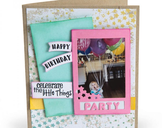 New! Sizzix Framelits Die Set 9PK w/Stamps - Photo Frame, Celebrate by Lynda Kanase 662174