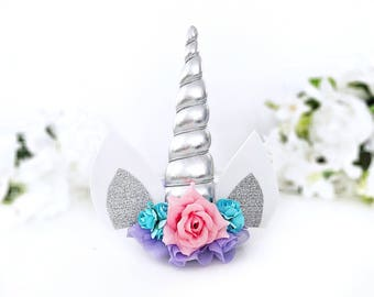 Silver Unicorn Headband Unicorn Hair Clip Unicorn Horn Unicorn Birthday Newborn Unicorn Photo Props Girl Birthday Outfit Squishy Cheeks