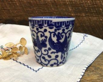 Vintage Japanese Phoenix Bird Sake Teacup/Blue & White/Howo Bird