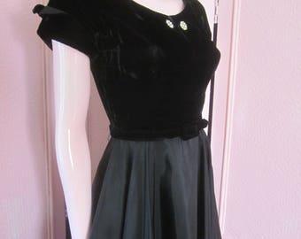 1950s Black Velvet and Black Taffeta Dress, Size 4