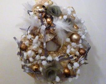 Gray, and Golden Crown Christmas balls, organza: Christmas in Vienna