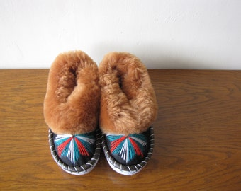 Sheepskin slippers EU36 = US 6,0/ Fur leather slippers / Warm slippers /  Fur moccasins /  Gift for Women /