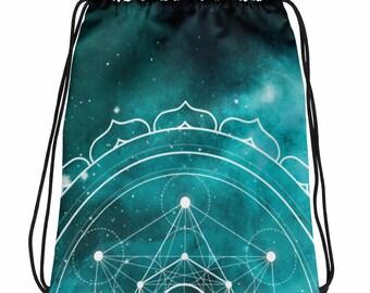 Drawstring bag - Sacred Geometry Teal 1 Drawstring Bag