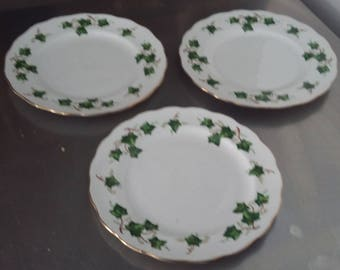 3 Colclough Green Ivy Plates 2 @ 210 mm 1 @203 mm