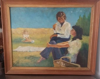 Original Oil on Board Painting Picture of a Domestic Scene. Picnic.
