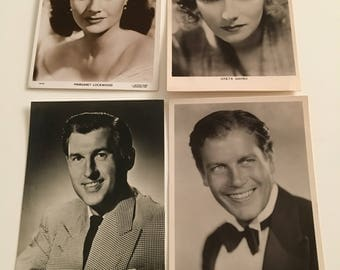 4 vintage film star postcards sale