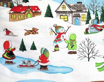 Houses w/ Dogs Children & Snowman Holiday Scenic SSI #1186 By the Yard