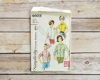 Country Shirt and Scarf Size 11 Mod Fashion Simple to Make Blouse Simplicity 4603 Retro Teen Outfit Head Scarf Pattern Housewife In The 60s