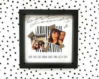 Best friends monochrome and gold glitter photo frame gift with FREE photo printing. Love you like vodka shots and jelly tots!