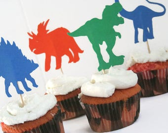Dinosaur Cupcake Toppers, Cake Toppers, Set of 12 Dinosaurs, Custom Party Decor, Dinosaur Party, Jurassic Dinosaurs, Jurassic Party Decor