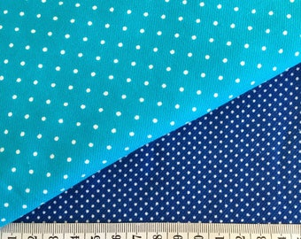 Vintage spotted turquoise navy blue cotton fabric duo