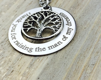 Thank you for raising the man of my dreams, stainless steel pendant, wedding, mother-in-law, marriage, mother of the groom