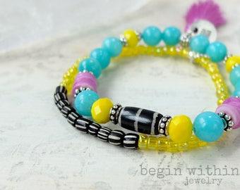 Bohemian Tassel Bracelet Set | Ethnic Stacked Bracelets | Global Jewelry