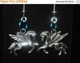 ON SALE Blue Pegasus Earrings