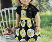 SUNDRESS Dress in Black Yellow Daisy Print with JACKET Jewelry and SANDALS Option for American Girl or 18 inch Doll